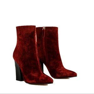 Brick Red Velvet booties